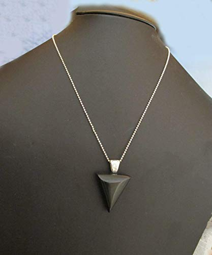 Green Goldstone Triangular Pendant on a Sterling Silver Ball Chain