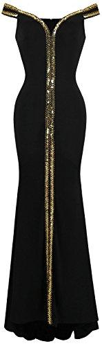 Off Formal Floor Gown V fashions Shoulder Length Neck Black Women's Angel Black qUEBzY