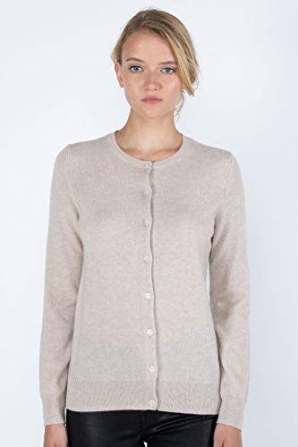 JENNIE LIU Women's 100% Cashmere Button Front Long Sleeve Crewneck Cardigan Sweater (L, Oatmeal)