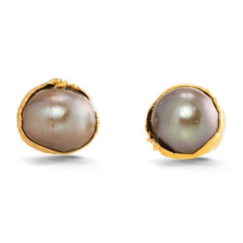 Raw Black Pearl Earrings, Yellow Gold, Rough Gemstone Jewelry