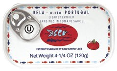 Bela Olhao Sardines Lightly Smoked Sardine in Tomato Sauce, 4.25 Ounce - 12 per case.