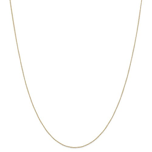 - 14k Gold Curb or Cuban Chain Necklace with Spring Ring (0.3mm) - Yellow-Gold, 20 in
