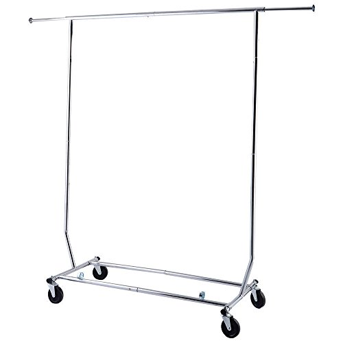 Clothes Portable Single-bar Steel Rack Silver by Wowdeal