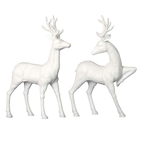 Vickerman 541418-13 White Deer w/Glitter 2/Set (MC187211) Home Decor Animal Figurines