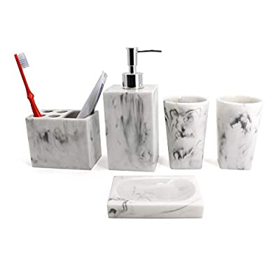 Bathroom Accessory Set with Tumbler, Soap Dish, Liquid Soap Dispenser, Toothbrush Holder,Grey - Contemporary deluxe resin 5 piece bathroom accessory set includes 1 round soap dish, 1 lotion/soap pump dispenser, 1 toothbrush holder (holds up to 4 toothbrushes), and 2 tumbler. SOPHISTICATED FINISH; the decorations create the illusion of a surface that's rough to the touch but in fact, luxuriously smooth - each piece is laminated for moisture resistance, and is a complete joy to admire and use, owing to the sleek finish. Perfect accessories set for master bath, guest bath or kids bath. Also suitable for commercial use. - bathroom-accessory-sets, bathroom-accessories, bathroom - 313wAei%2BdML. SS400  -