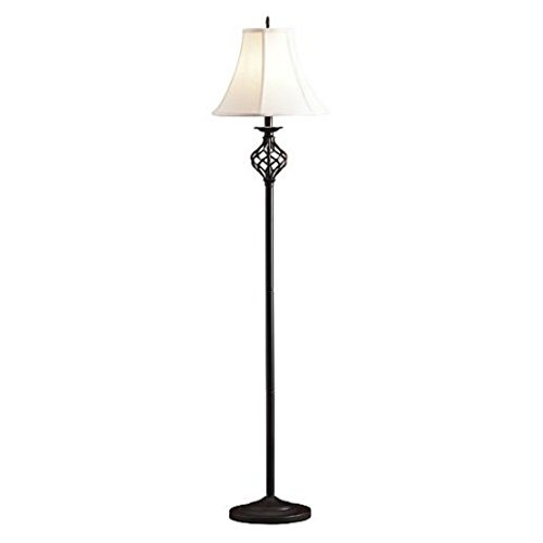 61 Inch Black Classic Style Iron Cage Stand Floor Lamp with Empire Shade, Bronze Finish
