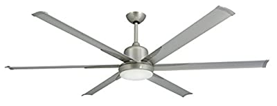 "TroposAir Titan Brushed Nickel Large Industrial Ceiling Fan with DC-Motor, 72"" Extruded Aluminum Blades, Integrated Light and Remote"