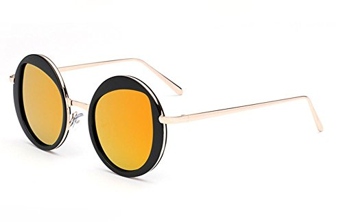 Trendy de Dames Voyageur Lunettes orange Mode Soleil CMCL Light des Glasses cocons Reflective Mirror de Circular Ultra EgxR0qwETY