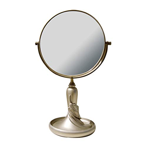 ZWS Vanity Mirrors 3X Magnification Round Double Side Rotating Cosmetic Mirror Desktop Makeup Mirror Portable Resin Dressing Mirror (Color : Gold, Size : 6inch)
