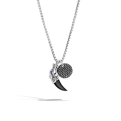 Gold Silver Bali Circle Pendant - John Hardy Men's Legends Naga Sterling Silver Circle and Pendant on 2.7mm Box Chain Necklace, 26