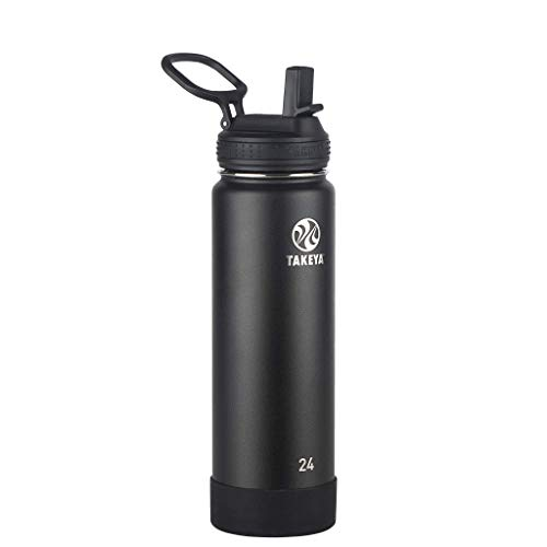 Takeya Actives Insulated Stainless Steel Water Bottle with Straw Lid, 24 oz, Onyx