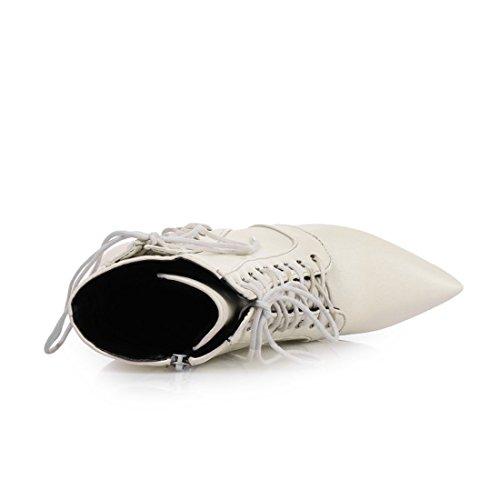 Lacets Bout UH Pointu Bottes Fermeture en Mode Femmes Chaussures Eclair Haut Blanc Talons à avec et Sexy Aiguilles Cuissarde q00pIw1x