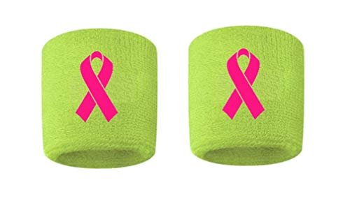 Breast Cancer Awareness Embroidered/Stitched Sweatband Wristband Volt Sweat Band w/Pink Ribbon (2 Pack)