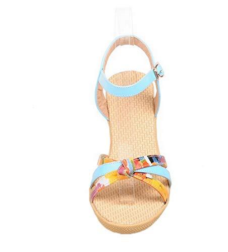 Cuir AgooLar PU GMBLB015144 Talon Mélangées Couleurs Correct à Bleu Femme Boucle Sandales ww1rgEq