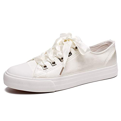 (ZGR Womens Fashion Canvas Sneaker Low Cut Lace UPS Casual Shoes White3 Size)