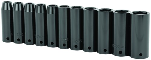 Stanley 97-126 11 Piece 1/2-Inch Drive Metric Deep Impact Socket Set (2 Socket 1 Set)