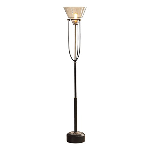 My Swanky Home Mid Century Metal Industrial Vintage Style Floor Lamp | Glass Hurricane Shade