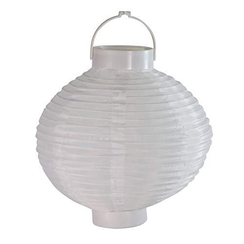 Set of 3 Battery Operated LED Lighted White Fabric Outdoor Garden Patio Chinese Lanterns 8