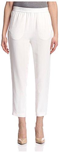Magaschoni Women's Washed Silk Signature Pant, Blanc, XS (Pants Silk Slacks)