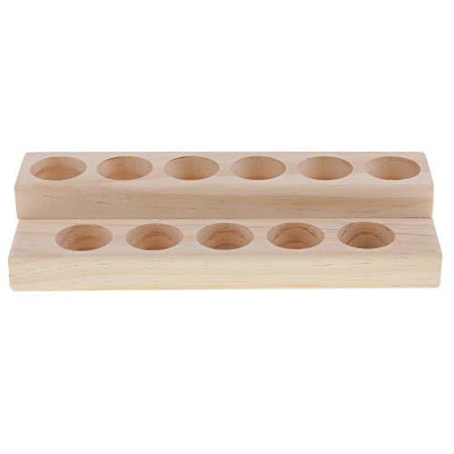 Baosity 2 Tiers Essential Oil Wooden Storage Case Box - Holds 11 Regular and Roller Bottles Perfect Storage Organizer Rack Oils Display Stand, Solid Pine Wood