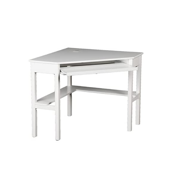 Southern Enterprises Corner Computer Desk - White - Painted White Finish; Product Dimensions 32.5 x 48 x 30 inches; California Proposition 65 warning Yes; Assembled Height 30 inches; Assembled Width 32.2 inches; Assembled Length 48 inches; Weight 52 Pounds Slide out keyboard tray Cord management - writing-desks, living-room-furniture, living-room - 313wKyJ48iL. SS570  -