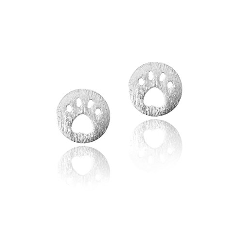 Silver Mini Paw Print Button Post Earrings with Brushed Texture