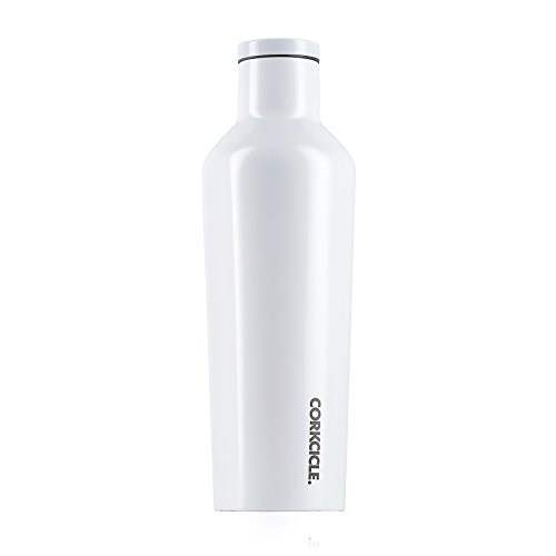 Modernist Modernist Collection - Corkcicle Canteen Collection-Water Bottle & Thermos-Triple Insulated Shatterproof Stainless Steel, Dipped Modernist White, 16 oz