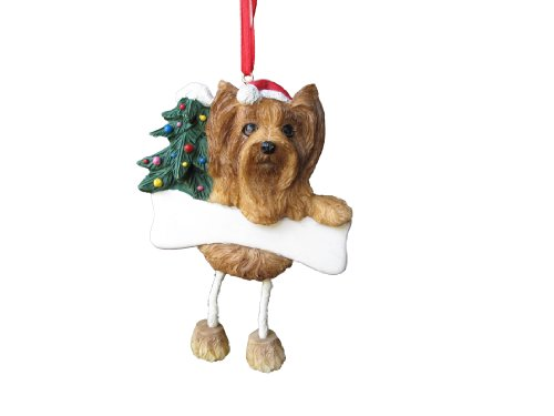 Yorkshire Terrier Dangling/Wobbly Leg Christmas Ornament