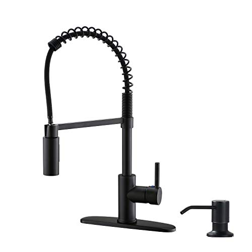 APPASO Matte Black Commercial Kitchen Faucet Pull Down Sprayer - High Arc Tall Modern Single Handle One Hole Spring Pull Out Kitchen Sink Faucet with Soap Dispenser