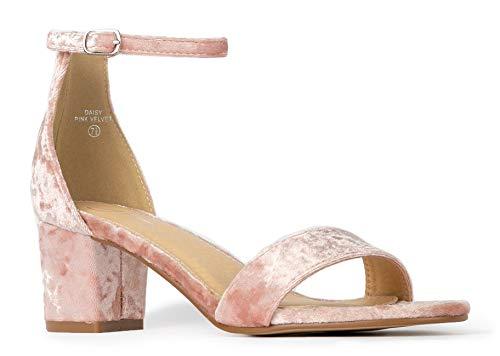 J. Adams Daisy Mid Heel Sandal Pink Velvet 7.5 B(M) US