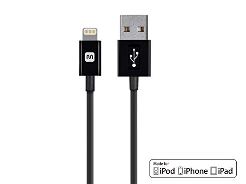 Monoprice Select Series Apple MFi Certified Lightning to USB Charge & Sync Cable, 6ft Black for iPhone X, 8, 8 Plus, 7, 7 Plus, 6, 6 Plus, 5S, iPad Pro (Lightning Monoprice Iphone)