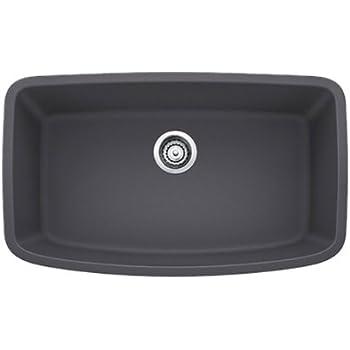 Blanco 441611 Valea Super Undermount Single Bowl Kitchen Sink, Large, Cinder