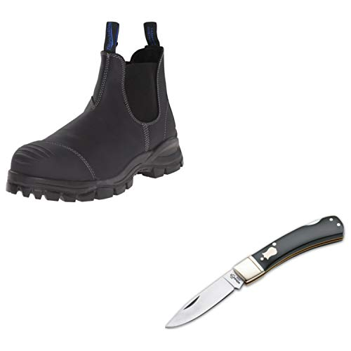 - Blundstone Men's Work and Safety Steel Toe Boot (990)-Black 9 (US) with Free Bok