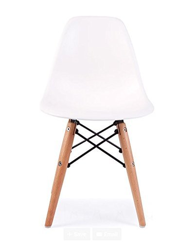ModHaus Mid Century Modern CHILDREN KIDS White DSW Chair with Wood Dowel Base Inpired by Eames design - HIGH QUALITY Matte Finish