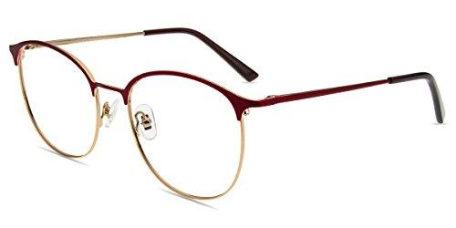 Firmoo Blue Light Blocking Computer Reading Glasses for Anti Glare/Eyestrain/Headache with Stylish Round Burgundy and Gold Metal Frame for Women/Men(1.00) (Lens Burgundy Frame)