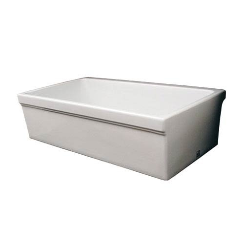 WHQ530-WHITE Quatro Alcove Reversible Fireclay Sink With Decorative 2 1/2 Lip On One Side And 2 Lip On Other (Whitehaus Quatro Fireclay Farmhaus Alcove)