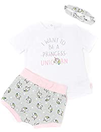 Mini Heroes - Baby Girls' 3-Piece Unicorn T-Shirt, Short & Headband Set