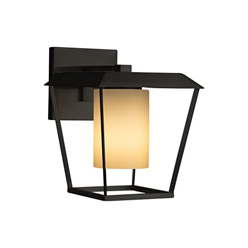 (Fusion - Patina Large 1-Light Outdoor Wall Sconce - Cylinder with Flat Rim Artisan Glass Shade in Almond - Matte Black Finish)