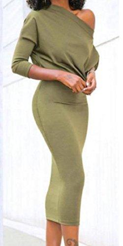 Coolred-femmes Simples Carrière Épaule Incliné Solide Salut-robes Taille Mi Feu Vert