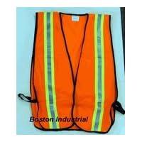 G & F 41113 Chaleco de seguridad industrial con rayas reflectantes, naranja neón