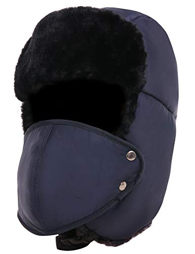 Zuozee Winter Warm Trapper Hat with Windproof Removable Mask Thick Hunting Ushanka for Men Women Outdoor Skiing Sport (Dark Blue)