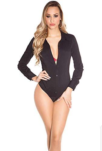 Mujer Camisa Body Azul S O F Xl Negro Tipo Blanco tallas 8883 Koucla A Para Gris Color YRIqEw