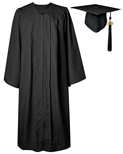 GGS Unisex Matte Graduation Gown Cap Tassel for Bachelor/High School 2019 Year Charm Black 48(5'3