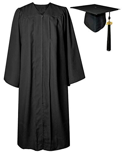 GGS Unisex Matte Graduation Gown Cap Tassel for Bachelor/High School 2019 Year Charm Black 63(6
