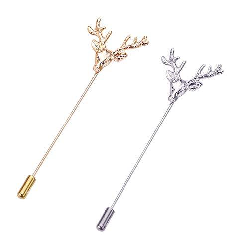 AngelShop Men Metal Brooch Pin Vintage Buck Deer Head Stag Lapel Stick Stock Pin 2PCS Deer from AngelShop