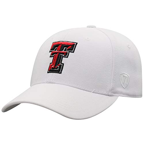 Top of the World Texas Tech Red Raiders Men's Memory Fit Hat Icon, White, One Fit
