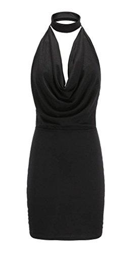 Yiyilai Femmes Solides Dos Nu Dos Nu V Cou Robe Plissée Courte Club Sexy Noir