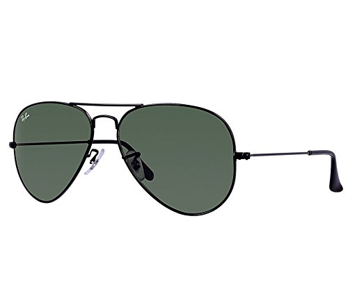 Ray-Ban AVIATOR LARGE METAL - Black Frame GREEN Lenses 58mm - Ray Rb3025 L2823 Aviator Ban