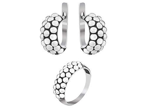 - Set of Modern Hoop Caviar Granule Texture Earrings and Ring 925 Sterling Silver Stylish Elegant Everyday Basic Minimalist Designer Jewelry for Women Girls