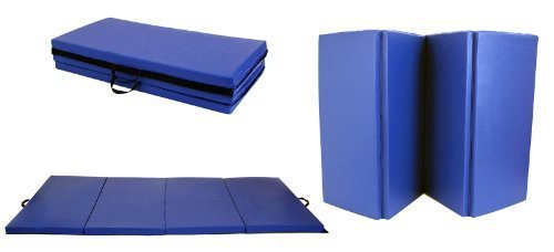 New Blue 4'x8'x2'' Folding Panel Gymnastics Yoga Dance Exercise Gym Fitness Aerobics Martial Arts Workout Training Tumbling Floor Mat Pad by Workout-Buddy